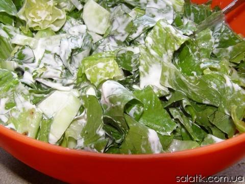 зеленый салат со сметаной