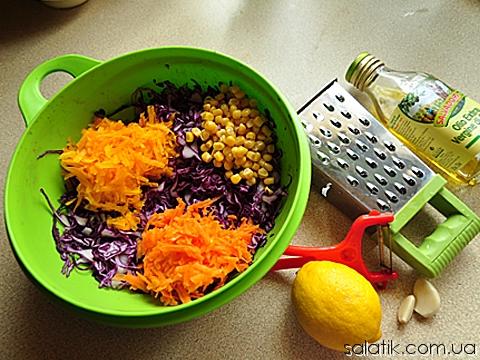 салат с синей капустой фото пошагово