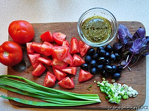 помидорный салат с оливками пошагово