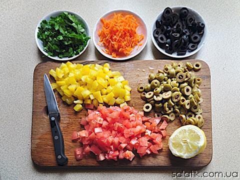 оливковый салат пошагово