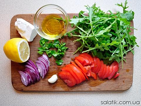 салат с рукколой и сыром фета пошагово