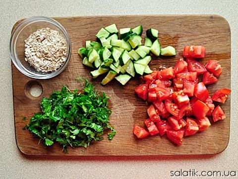фитнес салат с овсянкой