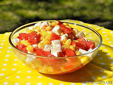салат с брынзой и кукурузой