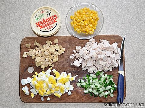 салат с кукурузой и огурцом продукты