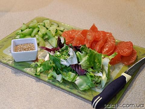салат с грейпфрутом и огурцом продукты