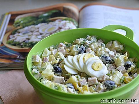 картофельный салат с ветчиной