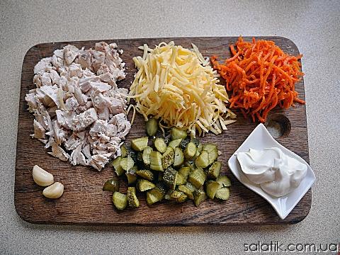 салат с курицей и морковкой по-корейски продукты