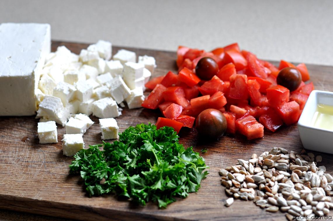 салат с помидорами брынзой и семечками нарезка