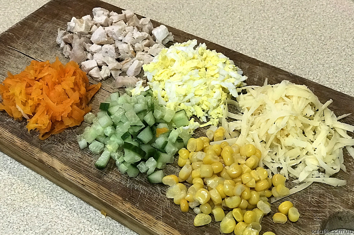 Салат на Новый Год с кукурузой и курицей продукты