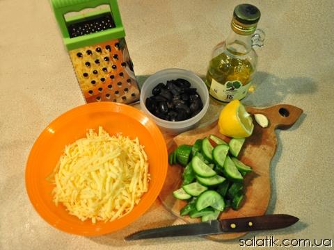 салат с оливками и огурцами пошагово фото