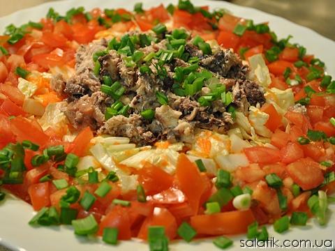 салат с пекинской капустой и сардинами рецепт фото