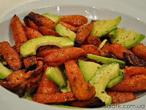 салат с печеной морковью и авокадо рецет фото