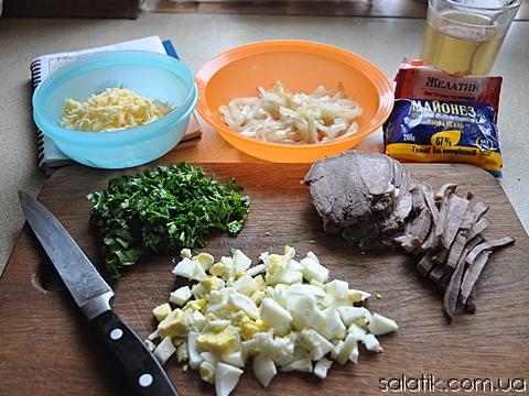 салат с языком рецепт пошагово фото