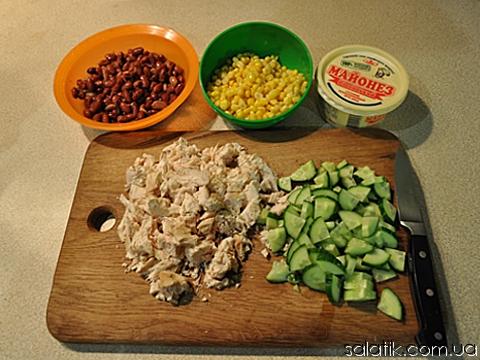 салат из курицы с красной фасолью пошагово фото