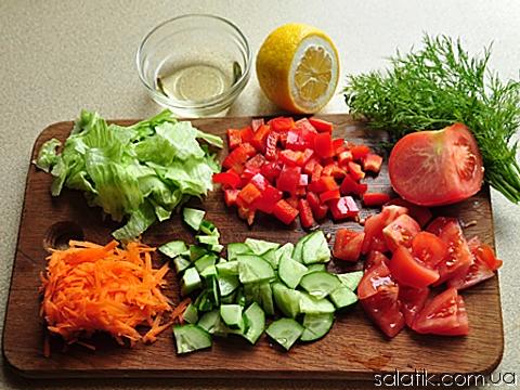 фитнес салат с овощами пошагово
