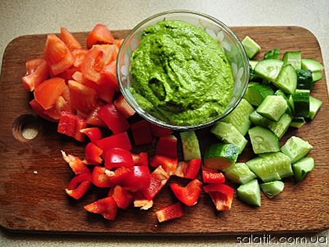 салат с соусом из черемши фото